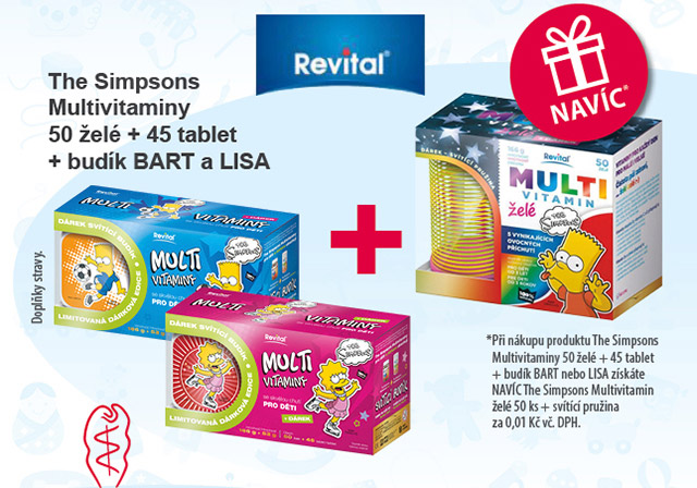 The Simpsons Multivitaminy 50 želé + 45 tablet + budík BART a LISA