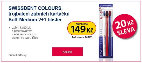 SWISSDENT zubní kartáčky Colours 2+1 Soft Medium